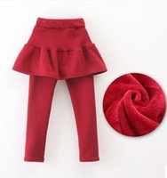 baby outer wear - More girls leggings autumn winter children pure cotton and wool culottes female baby fake two piece outer wear long pants