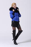 Wholesale Top AAA Quality Woman Down Parkas Blue Color Big Fur Down Jacket Down Parkas Norge Dame Parkas Salg Size S XL