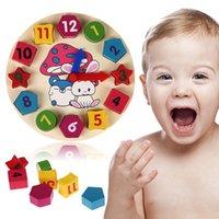 Reloj digital de la geometría España-Madera de 12 números coloridos rompecabezas digital geometría reloj bebé educativo reloj de madera del juguete niños niños juguetes regalos