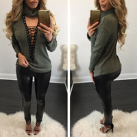 Wholesale 2017 Spring Autumn Europe Womens Sweaters Fashion Deep V Neck Empty Hooded Knit Strapless Sweater Ladies Big Girls Loose knitted sweater