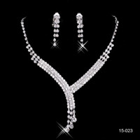 Wholesale Cheap Sterling Silver China - 2017 Shinning Rhinestone Blue Lady Necklace Earring Sets Bridal Accessories Jewelry for Wedding Party Evening Prom In Stock Cheap 15023