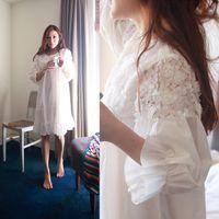 Wholesale long white cotton nightgown Sleep Women Sleepwear Cotton Nightgowns Sexy Long Robe Home Dress White Pink Nightdress