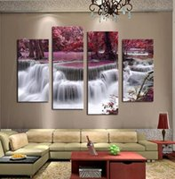 Unframed Wall Deco 4 Панель Наборы красивый водопад пейзаж Живопись Цветы Современные Картины на холсте Картины Печать Customized Picture A-
