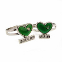 Silver Plated best mood ring - BEST FRIENDS English words and magic temperature change color adjustable ring mood rings women jewelry