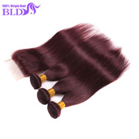 Mongolian Straight hair best red hair dye - Best Mongolian Straight Virgin Hair With Closure Human Hair With Closure J Red Wine Hair Weave Bundles With Closure