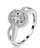 al por mayor 18k anillo de diamantes de oro sólido-El envío libre de la multa US GIA certificó los anillos de compromiso del moissanite de 1 ct el oro blanco 18K simula los anillos de diamante para las mujeres, anillo de oro blanco sólido