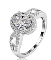 Free Shipping Fine US GIA certified 1 ct moissanite engagement rings 18K  white gold simulate diamond rings for women,solid white gold ring