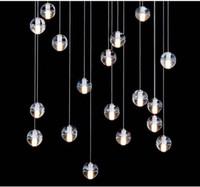 Wholesale G4 LED Crystal Glass Ball Pendant Lamp Meteor Rain Ceiling Light Meteoric Shower Stair Bar Droplight Chandelier Lighting AC V V