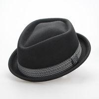 Wholesale Brand New Classic Black Wool Fedora For Men Big Male Flat Winter Woolen Jazz Hat XL Size England Style Floppy Wool Jazz Fedora