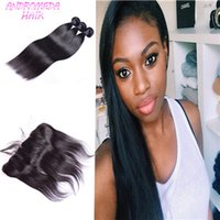 Wholesale 8A Brazilian Straight Hair Bundles With Lace Frontal Closure B With Ear to Ear Full Frontals