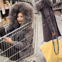 Wholesale 2016 Korean women s coat was thin thick loose waist large fur collar jacket long section of South Korea