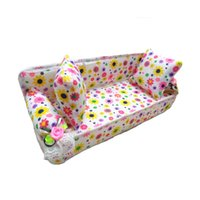 Wholesale Cute Sofa Set - 3 Pcs set Cute Flower Sofa Dolls Kids Classic Play House Toys & 2 Cushions