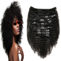 Wholesale african american clip in human hair extensions a b c Afro Kinky Curly Clip In Hair Extensions For Black Woman