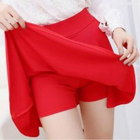 Wholesale 10 Colors Women Skirt Shorts Plus Size Candy Colors Red White Blue Pleated Skirts Prevent Exposure High Elasticity Pleated Saia