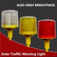 Precio de El tráfico de potencia-Venta al por mayor-4LED Solar Powered luz de advertencia de tráfico, blanco / amarillo / rojo