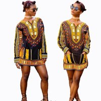 Wholesale african dashiki shirt new pattern long Sleeves dashiki shirts in Wax Cotton fabric for woman gift