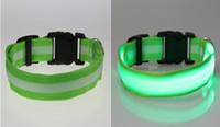 Wholesale 8 Color Glow LED Dog Pet Cat Flashing Light Up Nylon Collar Night Safety Collars Supplies