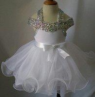 beaded baby dolls - Sell like hot cakes Halter Beaded Infant toddler baby children kids Glitz Baby Doll Pageant Dress