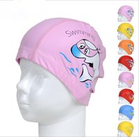Wholesale Lovely Cartoon Elastic Waterproof PU Fabric Protect Ears Children Swimming Cap Diving Waterproof Dolphin