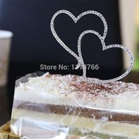 Wholesale New Romantic Crystal Rhinestone Silver Double Heart Cake Topper Wedding Decoration New Year Decor