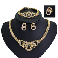 Wholesale Cheap Bracelets Necklaces Earrings Rings Sets Womens Fashion Rhinestone K Gold Plated Alloy Circles Party Jewelry Set