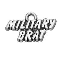 antique military jewelry - 100pcs Military Brat Military Mom Military Wife Antique Silver Plated Professional Statement Charm For Jewelry Making