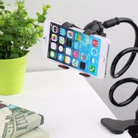 arm tables - 2016 New Universal Long Arm Lazy Mobile Phone Gooseneck Stand Holder Stents Flexible Bed Desk Table Clip Bracket For iphone