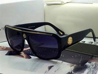 al por mayor gafas con montura cuadrados-Nuevos hombres marca diseñador gafas de sol medusa diseño grande cara logo V1573 gafas de abrigo diseño marco cuadrado para oversized retro steampunk estilo