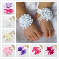 Wholesale Sweet baby girl barefoot sandals Folds ribbon flower Socks cover barefoot foot flower infant Toddler shoes Children summer Photography props