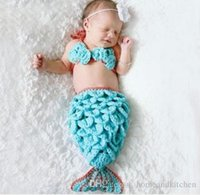 Wholesale The Little Mermaid Design Blue Crochet Hat and Cocoon Set Infant Newborn Baby Girl Photo Photography Props Handmade Knit Costume
