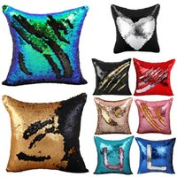 bedding cushions - New Arrivals x16 inches Double Color DIY Pattern Reversible Glitter Sequin Sofa Bed Decor Cushion Pillow Case Cover JN236