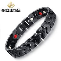 Wholesale 316Lstainless steel Bracelet high polished IP Black Plating For Men Bangles negative ion Magnets Health Jewelry Accessories ZSH007