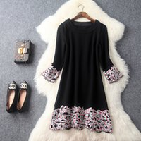 Wholesale Europe and the United States women s new winter Pleated long sleeved hollow embroidery patchwork dress fashion