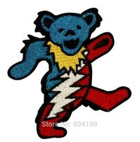 bear dance - 3 quot Grateful Dead Dancing Marching Lightning Bear Music Band Heavy Metal Iron On Patch Tshirt MOTIF APPLIQUE Rock gift Punk Badge