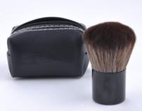 aluminum makeup brush set case - Makeup Brush Brown Mini PU Leather Bag Case Aluminum Handle Fiber Bristles Brown Face Powder Blush Brushes Beauty Tools