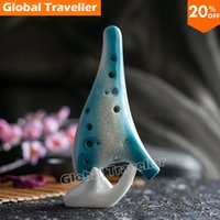 Wholesale Hand painted crack drawing Ice blue Classical Hole Kiln fired Alto C Ceramic Ocarina with protection bag