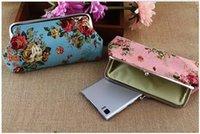 Wallets big canvas photos - 2016 new arrival Ms cloth art yiwu canvas zero wallet wallet long big rose Single hand phone spot