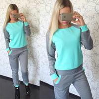 Wholesale 2016 New piece set women European hit color tracksuit plus size casual solid color harem pants sport suit women Sports fleece suits