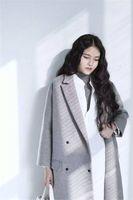 artistic coating - New women literary artistic temperament minimalist style Ms X Long Wool Blends coat double breasted wool woolen overcoat