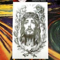 jesus tatouage achat en gros de-Vente en gros - 25 style Tattoo Body Art temporaire, Holy Jesus Christ Designs, tatouage flash Sticker Gardez 3-5 jours Waterproof 12 * 20cm
