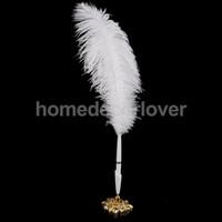 Mariage des stylos plume gros France-Vente en gros-blanc autruche Quill Feather signature Pen Magnifique Holder livre d'or de mariage
