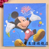 Wholesale Minnie Mickey Mouse Party Color Napkin Paper Virgin Wood Tissue for birthday party decoration kids Baby shower