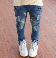 Wholesale 2017 Spring Autumn Baby Boys Girls Jeans Kids Broken Cool Washing Denim Pants Toddler Girls All Match Pants Children Clothes