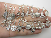 Wholesale WYSIWYG mix different silver plate dangles necklace pendants fit floating charm locket with Lobster clasp
