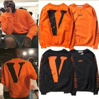 Wholesale New Winter warm Off White VLONE fleece Hoodies Men hoodie Sweatshirt High Quality Big V Off White VLONE Hoodies clothing HOT