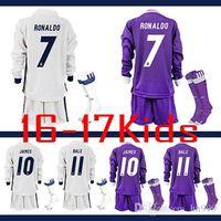 Wholesale 2016 Real madrid Kids soccer Jersey socks Youth Long Sleeve RONALDO home white MODRIC RONALDO JAMES BALE RAMOS ISCO football shirt