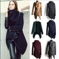 Wholesale Women Winter Windbreaker Parka Outwear Winter Coats jacket Fashion Casacos De Inverno Cashmere Mulher Abrigos Irregular Overcoat KKA1028