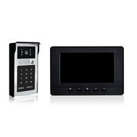 Wholesale wired villa video door phone inch black cover unlock by password and swipe card rainproof intercom system