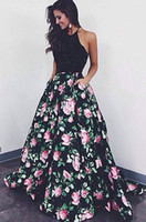 Wholesale 2017 New Sexy Halter Satin Long Prom Dresses Beaded Stones Top Floral Print A Line Floor Length Formal Party Evening Dresses