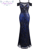 Wholesale Angel fashions Women Paillette Spaghetti Strap Bateau Sheath Ball Gown Prom Dresses A BK